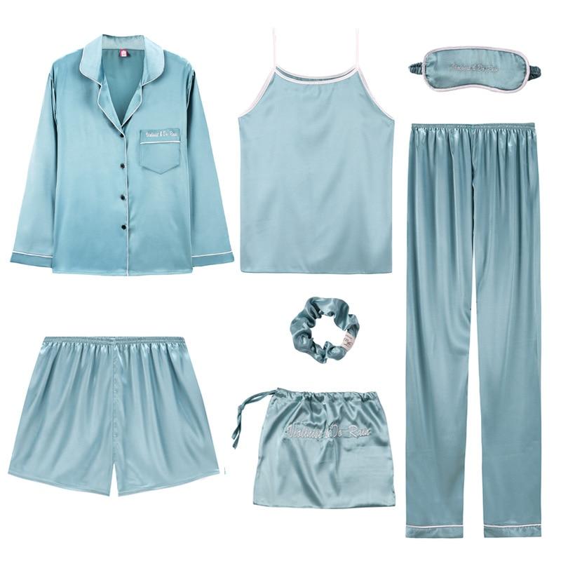 Sleepwear 7 Pieces Pyjama   Set   2019 Women Spring Summer Sexy Silk   Pajamas     Sets   Satin Sleep Suit Sweet Cute Nightwear Home Clothes