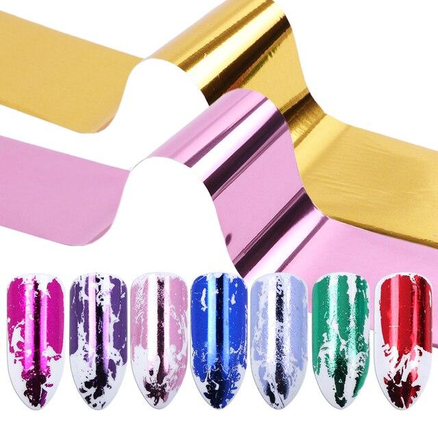 Adhesivos de plata y oro para transferencia de uñas en 14 colores, calcomanías de uñas de colores mezclados, deslizadores de agua estrellada, decoraciones de manicura TR996