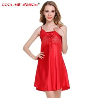 CooLMiFashion Sexy Hot Lace Women's Lace Short Mini Nightdress Pajams Soft Satin Sweater Sleepwear Erotic Lingerie dressing gown