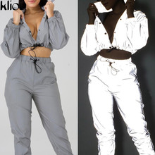 Kliou 2018 new Reflective cost women fashion full sleeve turn-down collar button drawstring outfit female street casual jackets