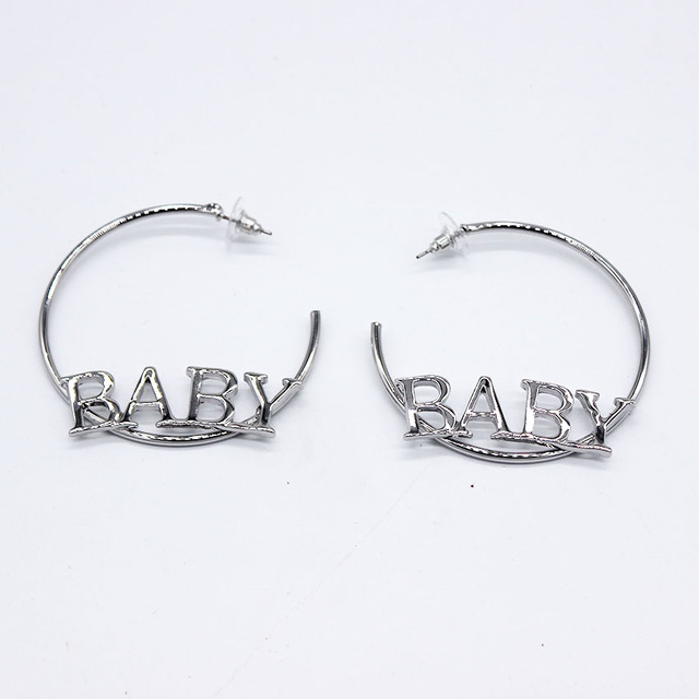 Net Red Europe And America Ring Circle Earrings Letters Baby Personality Exaggerated Banquet Nightclub 1000