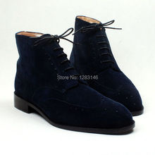 Free Shipping Handmade Leather Outsole/Upper/Insole Color Navy Suede Round Toe with Fur ankle Men's Fashion Leather Boot No.a116