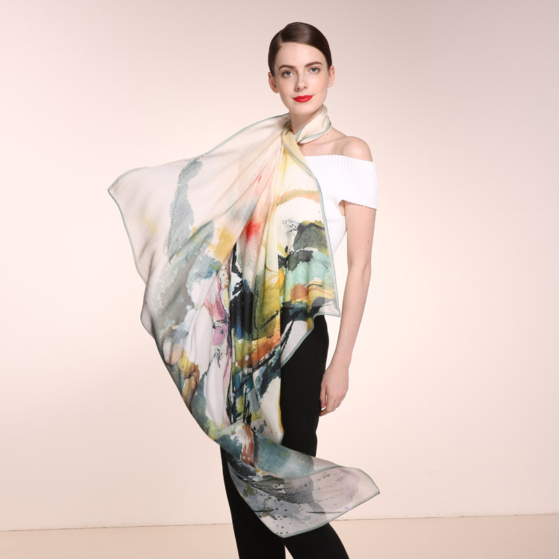 Top grade luxury  large 100% silk scarf printing ink classic sunscreen shawl 120cm*120cm big silk square