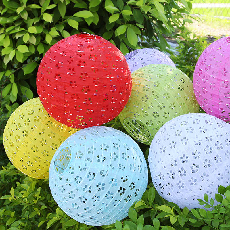 8/10/12/14 Inch Chinese Hollow out Paper Lanterns Wedding Lanterns Paper Lampshade Holiday Party Supplies Children DIY Lanterns