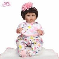 NPK 40CM Real Silicone Girl doll Reborn Baby Girl's Toys Realistic Newborn Princess Babies Fashion Dolls Toy Bebes Reborn