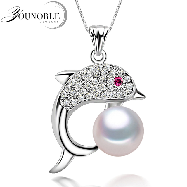 Fashion freshwater pearl dolphin pendant for women,genuine natural pearl pendant necklace chain 925 silver girl gift white pink