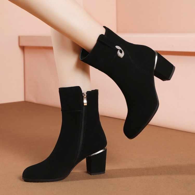 MLJUESE 2019 kadın yarım çizmeler inek süet fermuarlar kısa peluş kış sıcak kürk çizmeler yüksek topuklu kadın çizmeler boyutu 34- 43