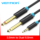 "Vention 3.5mm to Dual 6.5mm Adapter Jack Audio Cable Double 6.35mm Male 1/4"" Mono Jack to Stereo 1/8"" 3.5mm Jack aux Cord"