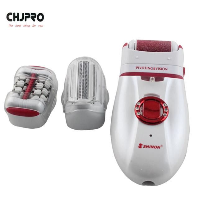 CHJ 3 EN 1 Depiladora Depiladora Con Pedicura Eléctrico del Pelo de Afeitar Para Las Mujeres Impermeables Cabeza Cuidado de La Piel Al Por Mayor