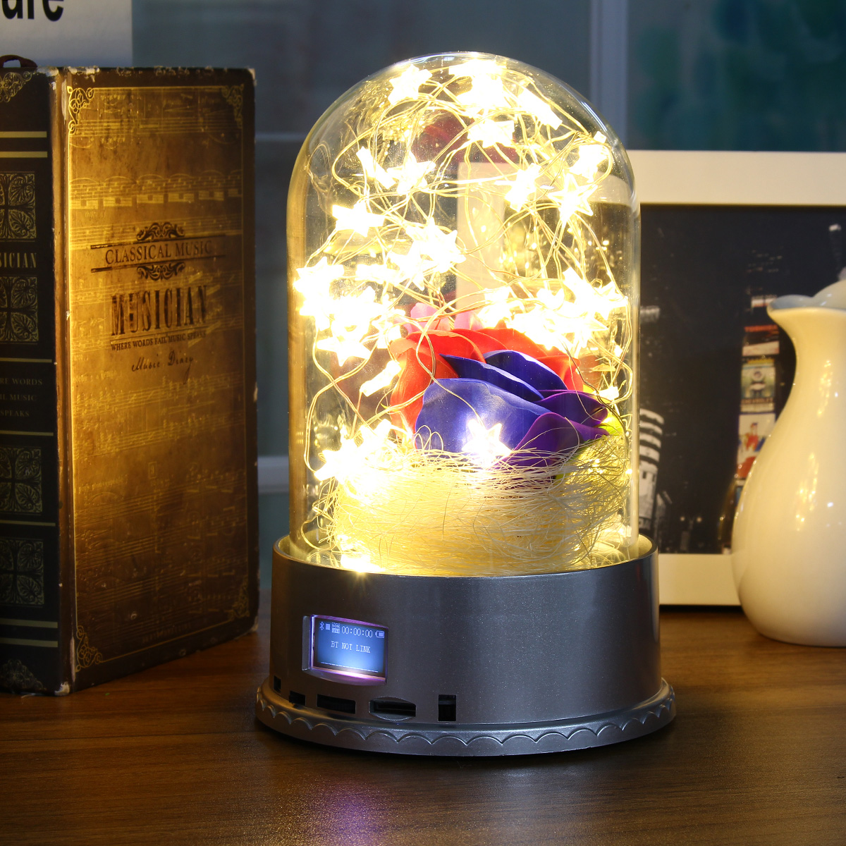 LED Bluetooth Music Glass Nigh Light Wireless Bluetooth Speaker With Remote Power Cable Kid Bedside Decor Gift ABS Plastic 220V
