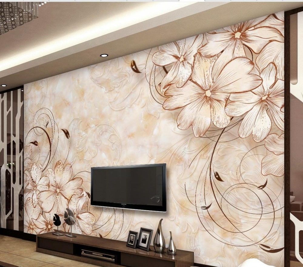 Wallpaper 3d flower marble flower wallpaper home decor for Design wall mural