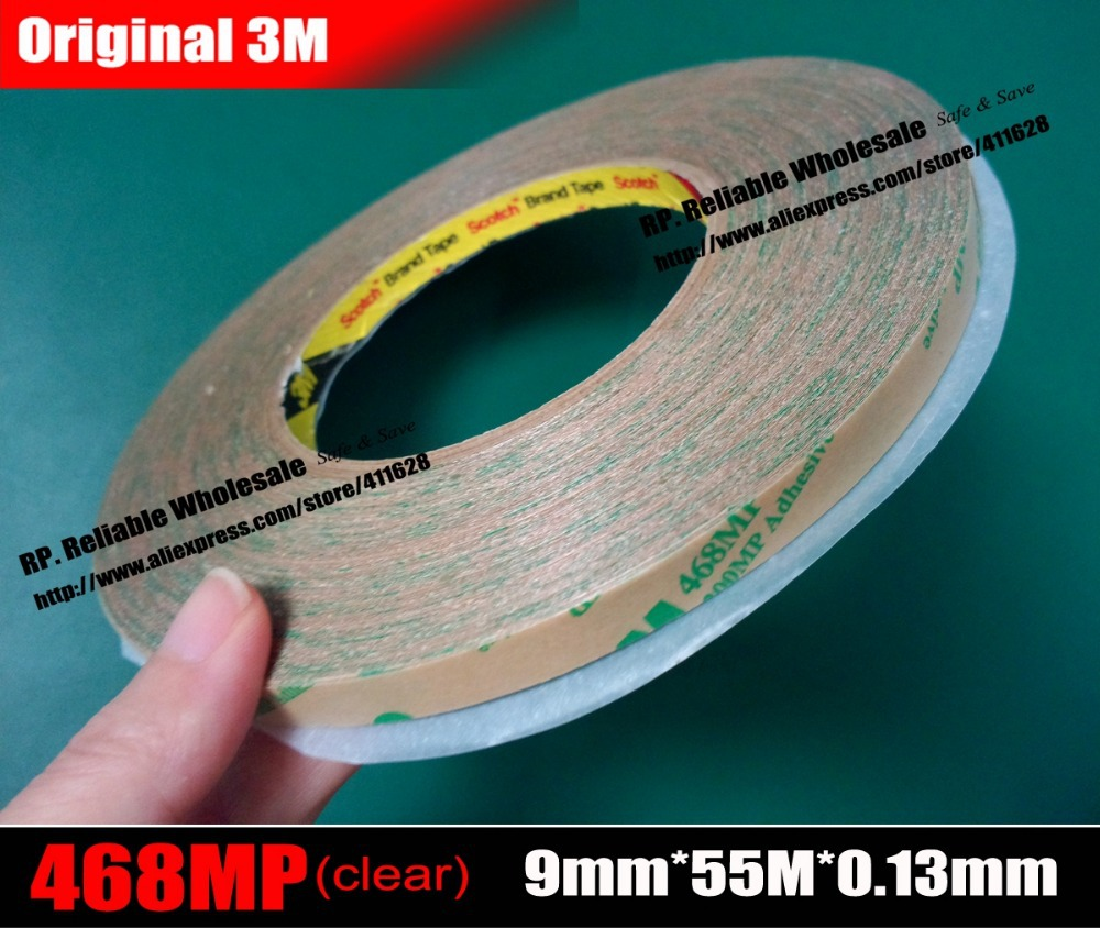 (9mm*55M*0.13mm), Original 3M 468MP High Temperature Double Adhesive Tape for Graphic Attachment Membrane Switch Bond