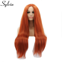 sylvia 350# yaki straight synthetic lace front wigs natural look red brown glueless heat resistant fiber hair for white woman