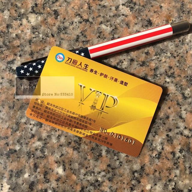 1000 יח\חבילה מותאם אישית PVC כרטיס VIP & פלסטיק כרטיסי כרטיסי חבר עם הזהבה לוגו/מספר סידורי שם כרטיס ביקור הדפסה