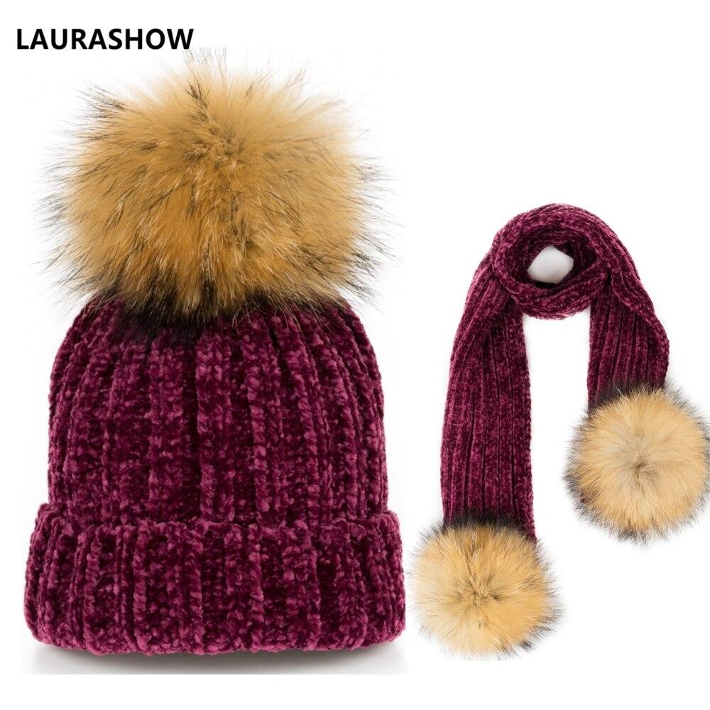 5a21dda43aa LAURASHOW2018 Girl Pom Pom Beanie Warm Knitted Fur Pompom Hat and Scarf Set Children  Real Raccoon
