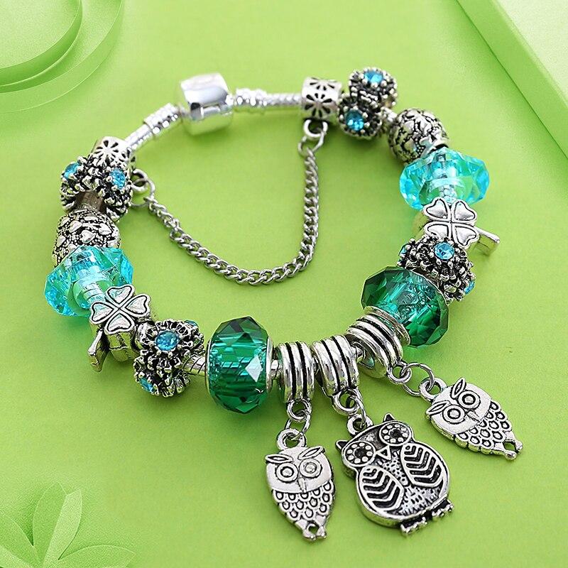 5a15aa855a34 Nuevo diseño de cristal verde encanto Pandora pulsera de plata 925 búho  corazón flor pulsera y brazaletes de joyería de regalo para las mujeres niño