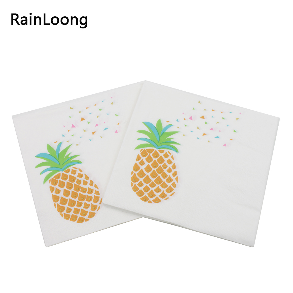 [RainLoong] Beverage Paper Napkins Pineapple Event & Party Tissue Napkins Decoration Serviettes 33cm*33cm 1pack/lot
