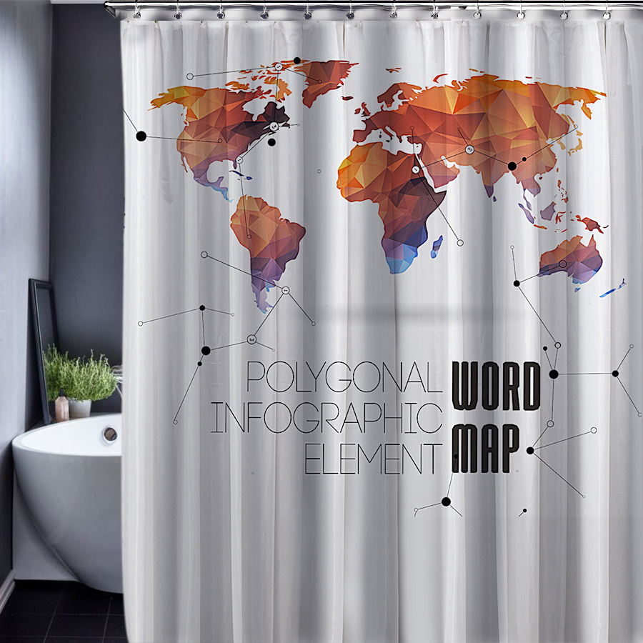 World Map Customized Shower Curtain Bathroom Accessories Waterproof  Polyester Fabric Shower Curtain For The Bath In Shower Curtains From Home U0026  Garden On ...