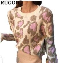 RUGOD Vintage Thời Trang Da Báo Phụ Nữ Áo Len Dệt Kim Mùa Đông Ấm Áp Quần Áo Khoác Cổ Tròn Nữ Chui Đầu Kéo Femme Hiver