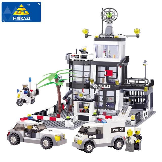 KAZI Police Station Building Blocks Car Styling Building Blocks 631+pcs 3D Model Blocks Brinquedos Playmobil Toys For Children ...