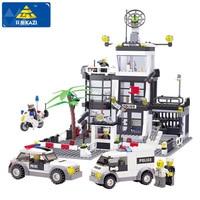 KAZI Police Station Building Blocks Car Styling Building Blocks 631 Pcs 3D Model Blocks Brinquedos Playmobil