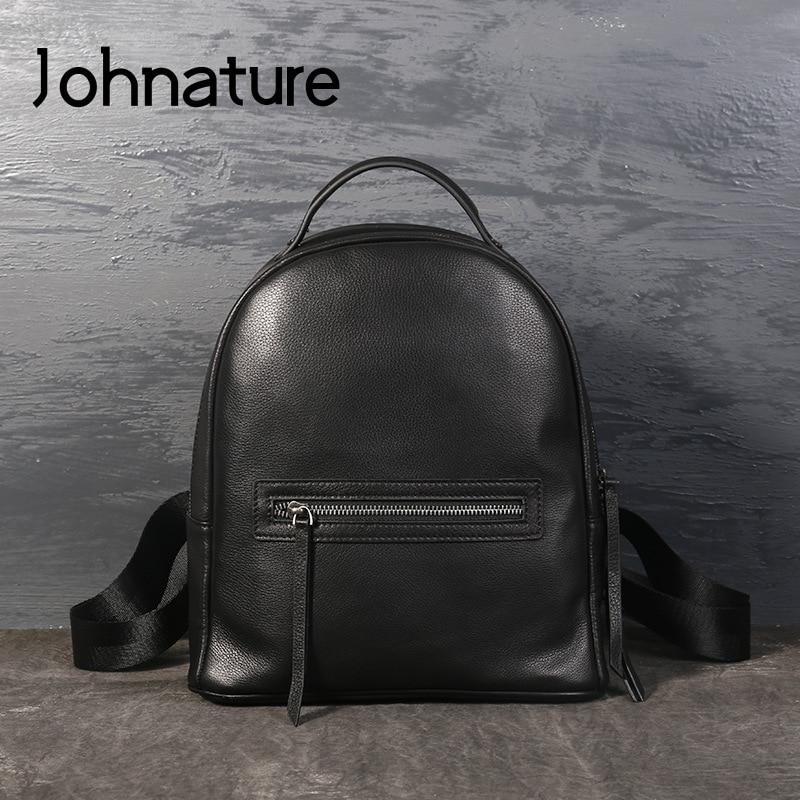 Johnature 2019 New Genuine Leather Zipper Bags Moto & Biker Silt Pocket Hard Handle Arcuate Shoulder Strap Women Female Backpack