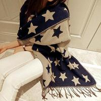 European Style Double Cashmere Long Scarf Charm Tassel Shawl Five Pointed Star Scarves For Women Girls