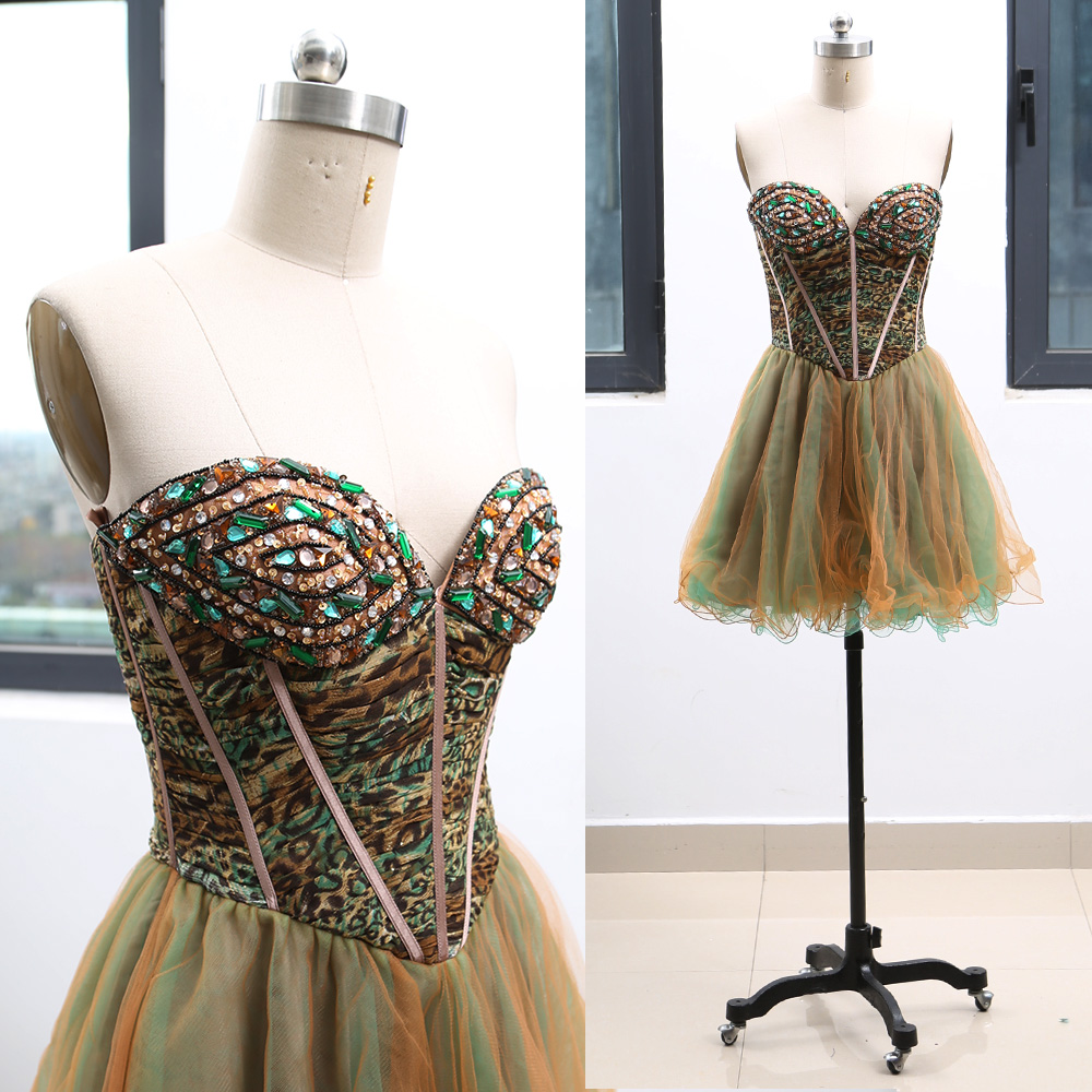 MACloth Light Brown Short Strapless Knee-Length Short Crystal Tulle   Prom     Dresses     Dress   S 264710 Clearance