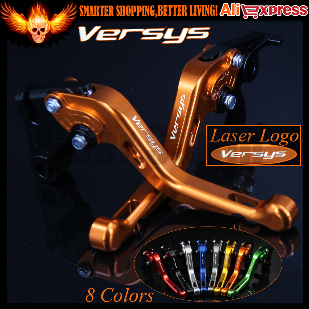 ФОТО Laser Logo (Versys) 8 Colors Yellow CNC Aluminum Motorcycle Short Brake Clutch Levers for Kawasaki VERSYS (650cc) 2015 2016