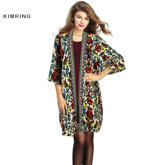 Kimring женская Весна Осень Vintage Пальто Мода Потрясающие Племенной Печати Уникальный Дизайн Пальто Свободные Пальто