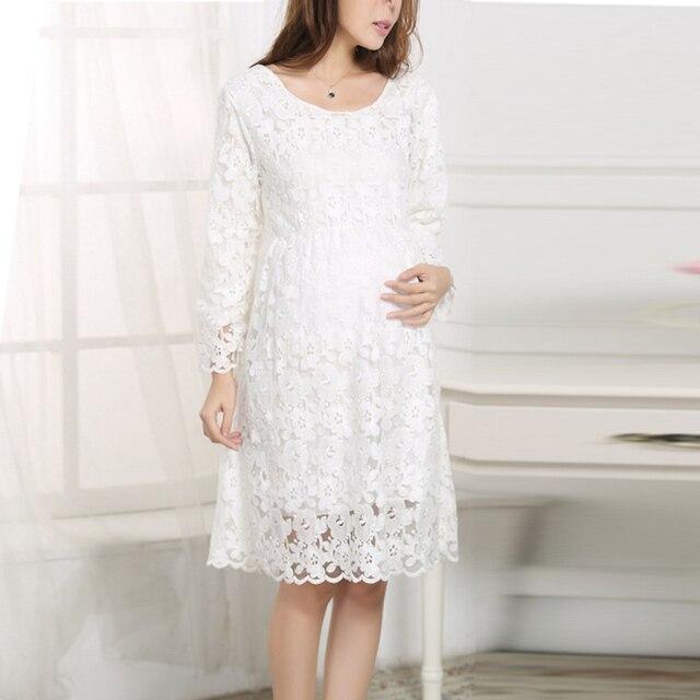 Pregnant White Lace Elegant Party Dresses Summer Autumn Crochet Long