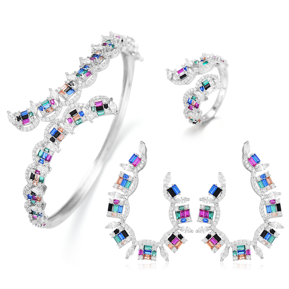 GODKI NEW Luxury 3pcs EARRING Bangle Ring Sets For Women Wedding Cubic Zircon Crystal Engagement DUBAI