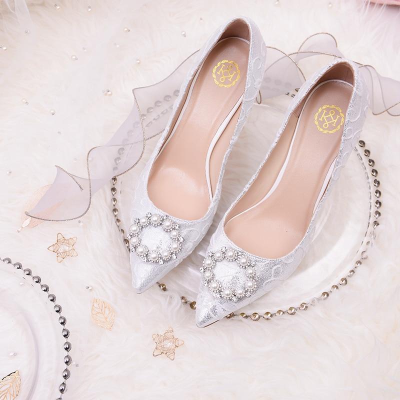 Chaussure de mariage femme 2019 nouvelle dentelle mariée fil chaussures perle talons hauts demoiselle d'honneur mariage argent cristal chaussures chaussures de mariage