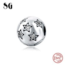 925 Silver clip Beads Fit Original pandora Charm Bracelets With Clear Star Cubic Zirconia DIY Authentic beads jewelry making