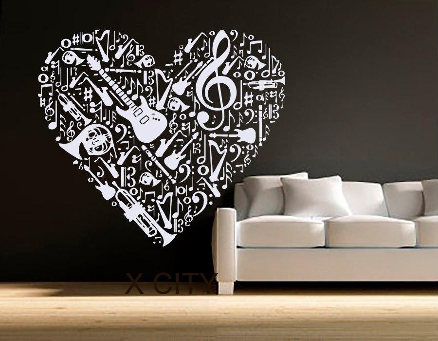 Wall Decals Vinyl Sticker Treble Clef Music Heart Pattern
