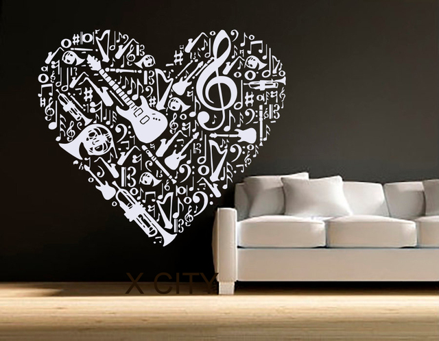 Wall Decals Vinyl Sticker Treble Clef Music Heart Pattern Home Decor Bedroom Studio School Dorm