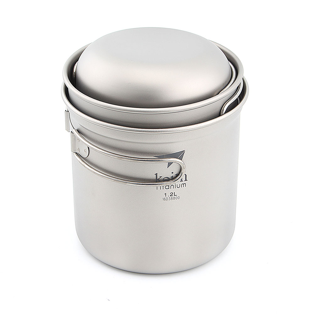 Keith Ti6052 Camping Ustensiles de Cuisine En Plein Air Pliage Pot Ensemble Titane Bol 300 + 400 + 1200 ml
