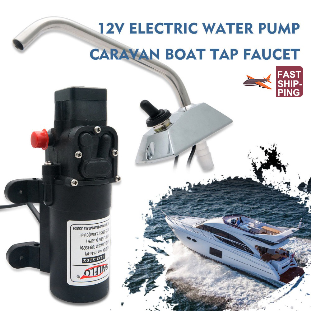 RV Water Pump 12V Boat Caravan Camper Self-Priming Galley Electric Water High Pressure Pump 4.3 L/Min With Faucet Tap storage cable