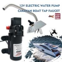 RV Water Pump 12V Boat Caravan Camper Self Priming Galley Electric Water High Pressure Pump 4.3 L/Min With Faucet Tap