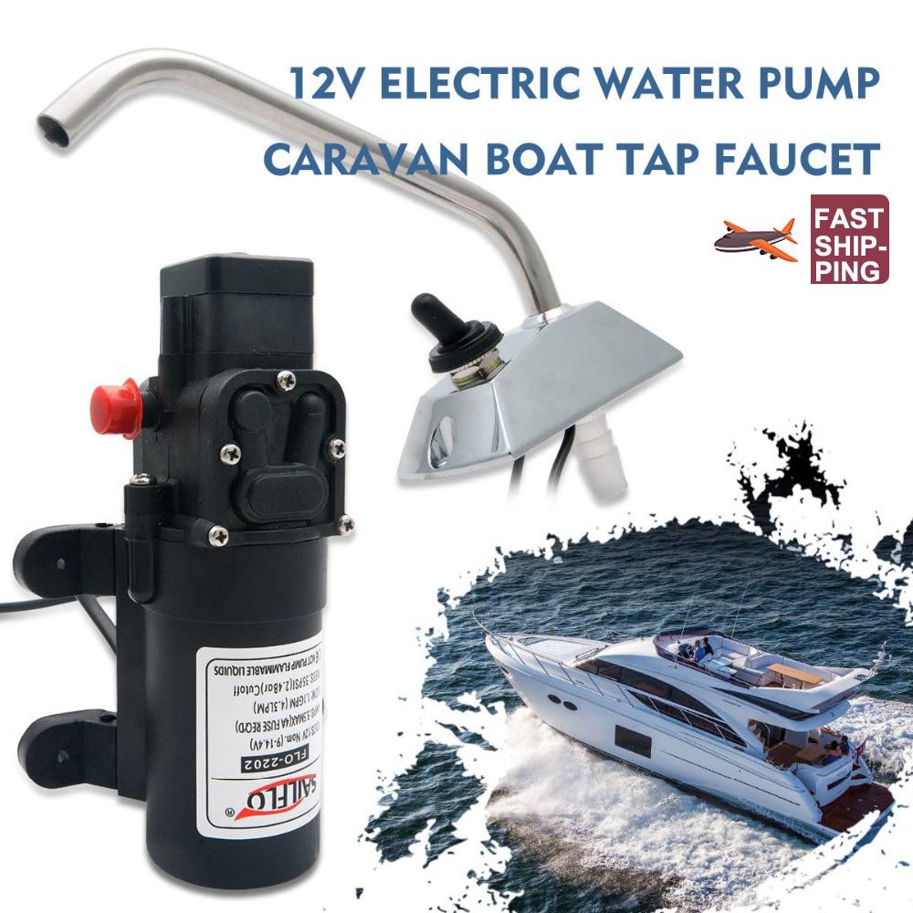 RV Water Pump 12V Boat Caravan Camper Self-Priming Galley Electric Water High Pressure Pump 4.3 L/Min With Faucet Tap