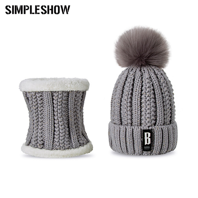 346eb4bda SIMPLESHOW Pompoms Women Winter Hat Scarf Set Girls Boys Warm Knitted Caps  Scarves Men Female Sets