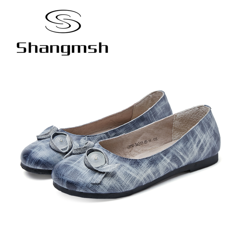 Shangmsh 2017 Women Casual Shoes Female Genuine Leather Loafers Shoes Woman Round Toe Nurse Fashion Slip On Shallow Flats Shoes new shallow slip on women loafers flats round toe fishermen shoes female good leather lazy flat women casual shoes zapatos mujer
