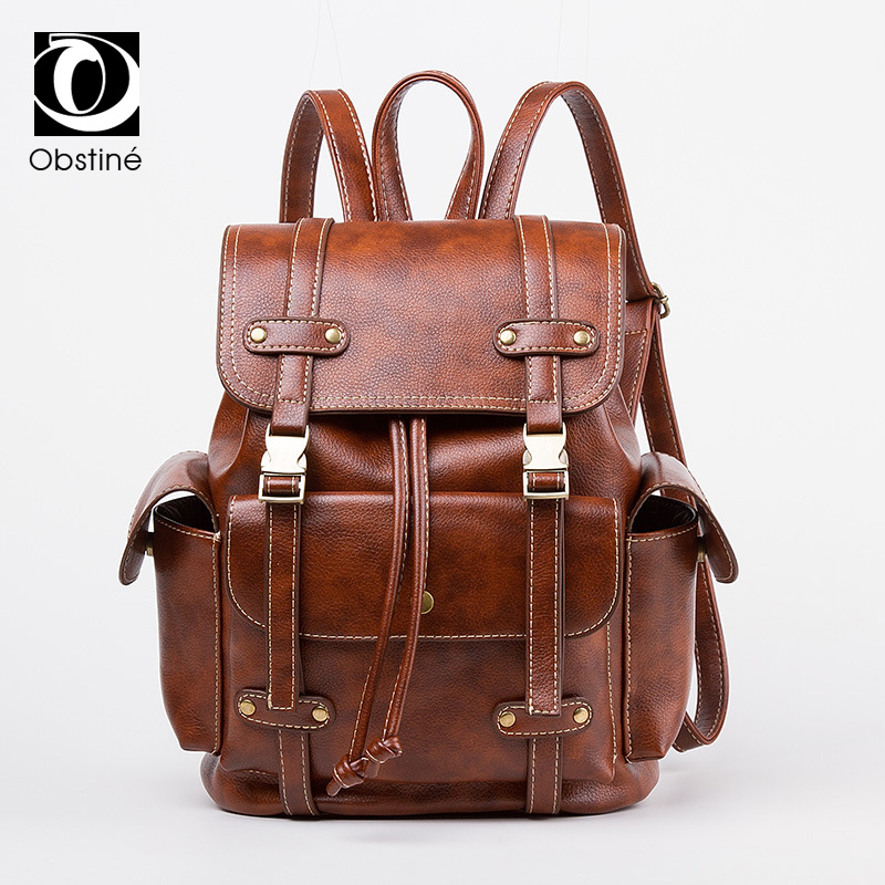 Designer High Quality PU Leather Backpacks Women Vintage College Student School Backpack For Teenage Girls Female Shoulder Bag