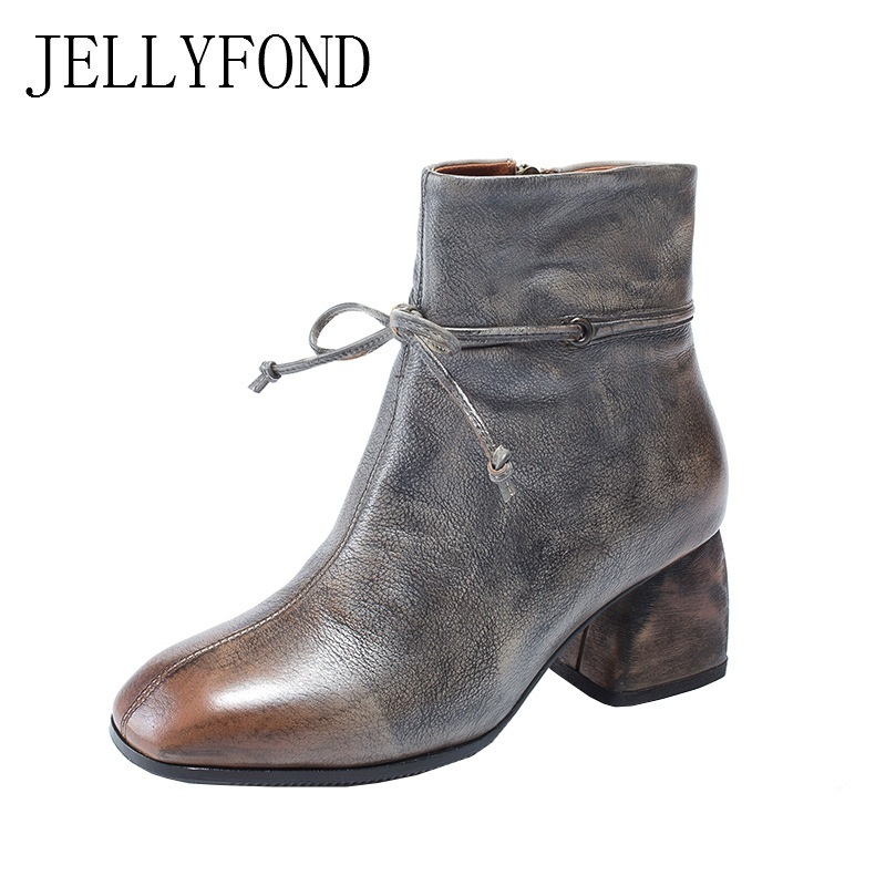 JELLYFOND Retro Women Ankle Boots 2018 Autumn Handmade Genuine Leather Chunky High Heels Boots Martin Winter Shoes Big Size jellyfond designer autumn winter shoes woman 2018 handmade genuine leather big bow platform high heels ankle boots chelsea boots