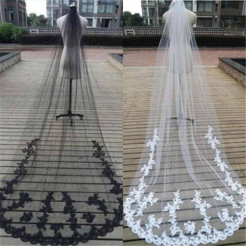 3M Cathedral Veil One Layer Lace Bridal Veil In Black White Ivory