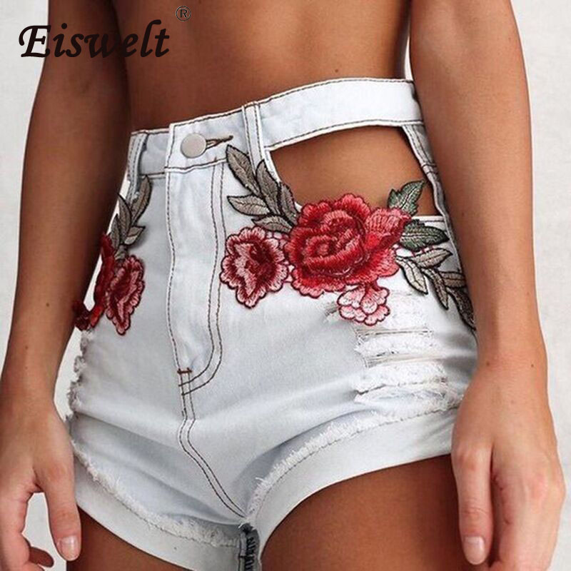EISWELT Hollow Out Jeans Shorts Women Rose Embroidery Sexy White Ripped Denim Pantalones Summer High Waist Short Pants Female