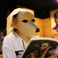 Dog Head Face Adult Cardboard Breathable Halloween Party Decor Cosplay Costume Lovely Animal Mask DIY Party