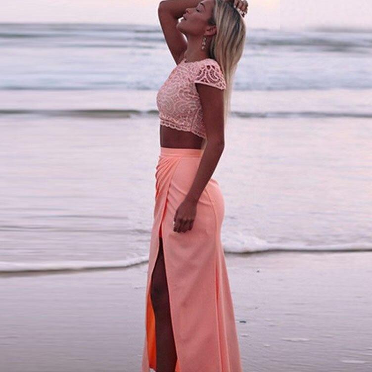 Elegante Damen Lace Crochet Front Splits 2-teiliges Set Club Dress - Damenbekleidung - Foto 3
