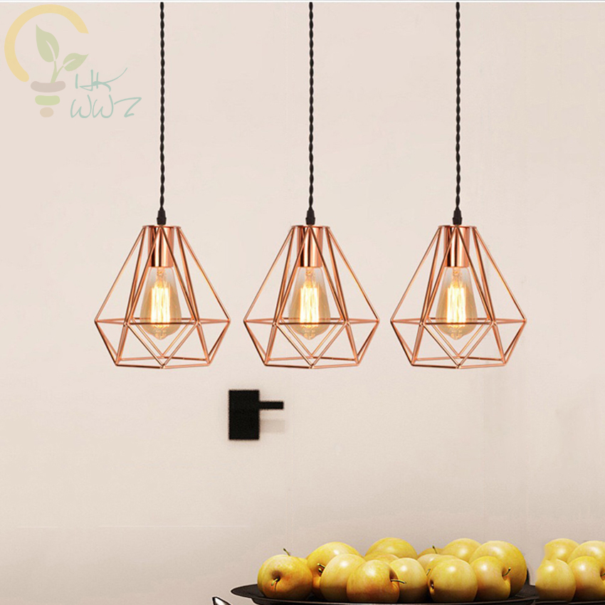 Nordic Light E27 Hanging Light Iron Electroplate Pendant Lamp Restaurant Living Room Rose Gold Diamonds Pendant Lights|Pendant Lights| |  - title=