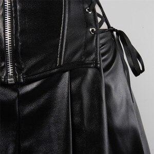 Image 2 - Sapubonva corsés de cuero con cremallera para mujer, falda burlesca, corsé steampunk, overbust, corsé de talla grande, lencería, vestido de piel sintética 6xl